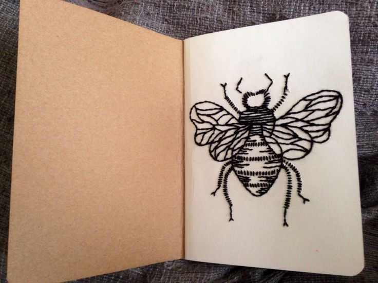 Bee embroidery on paper