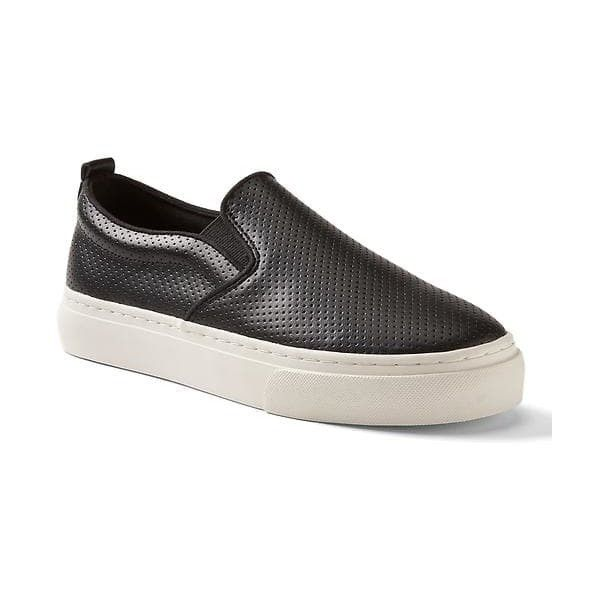 Gap Women Leather Slip On Sneakers ($50) ❤ liked on Polyvore featuring shoes, sneakers, black, regular, black trainers, leather trainers, slip-on shoes, pull-on sneakers and black slip on shoes