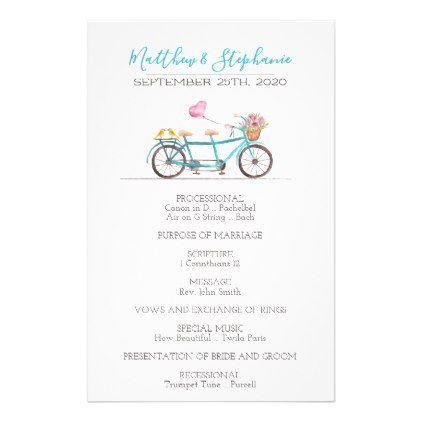 Watercolor Tandem Bicycle Wedding Program - flowers floral flower design unique style