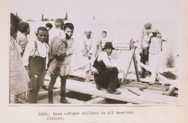 Refugees dressed in old American clothes in Greece, 1923