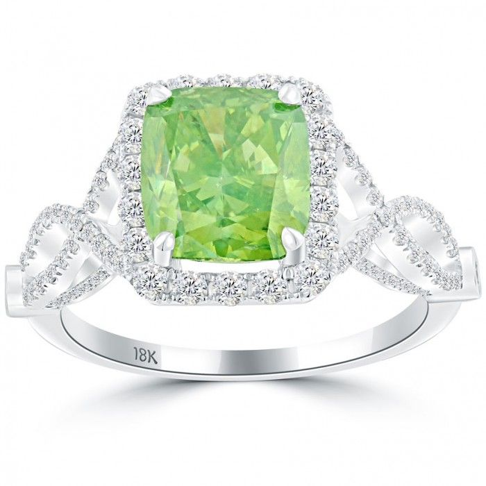3.48 Carat Fancy Green Cushion Cut Diamond Engagement Ring 18k White Gold - Thumbnail 1