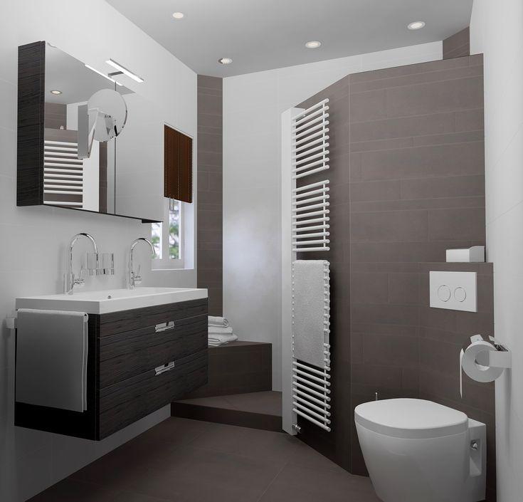 Kleine badkamer van 200x187cm met inloopdouche (2 hoekzitjes), toilet en dubbele wastafel. Gratis 3D badkamerontwerp en 360°view op Sani-bouw.nl