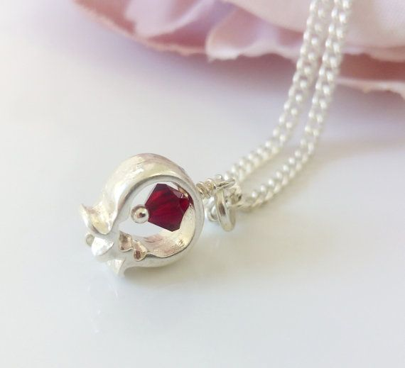 Delicate womens necklace is handmade of a gold plating chain and pomegranate pendant. A small pendant is decorated with tiny Swarovski