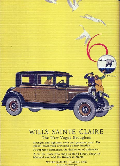 """Click image for 1000 x 1379 size.  Scanned from Taschen's """"All-American Ads of the 20s"""".  Wills Sainte Claire, 1926.  """"The New Vogue Brougham  Strength and lightness, style and generous ease. Excellent coachwork crowning a smart interior.  Its supreme..."""