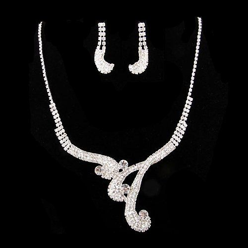 """Bridal Wedding Jewelry Set Necklace Earring Crystal Rhinestone Vintage Silver Accessoriesforever. $36.00. Dimensions: Necklace: 14"""" Long + 5.5"""" extension (Lobster Claw Closure); Earrings: Approx. 1.3"""" Drop x 0.6""""W (Post Back Closure). Color: Silver, Clear. Nickel / Lead Free. Material: Clear Crystal Rhinestones, Metal Casting, Rhodium Plated. Style: Vintage, Curly Design"""