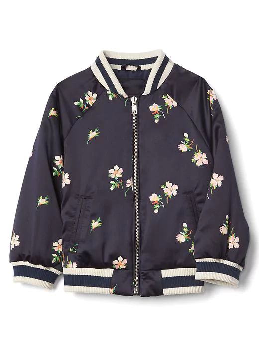 I wish this toddler bomber jacket came in adult size! Adorable floral touch for little girls.