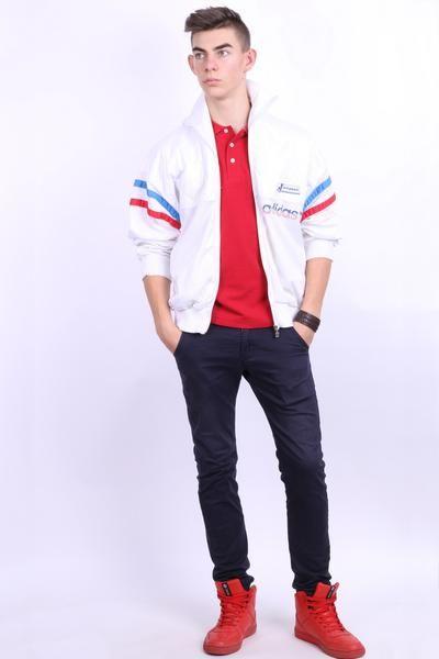 Adidas Mens 5'11'' L Sweatshirt Jacket White Vintage 90s USA Flag Track top - RetrospectClothes