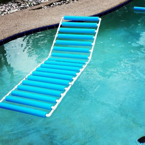 Home made pool lounger.  PVC & pool noodles.: