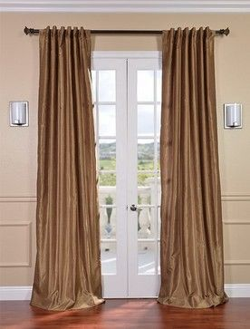 Flax Gold Vintage Textured Faux Dupioni Silk Curtain - contemporary - curtains - san francisco - Half Price Drapes