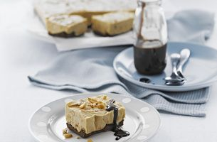 Frozen Choc-Peanut Butter Slice with Brown Sugar Chocolate Sauce