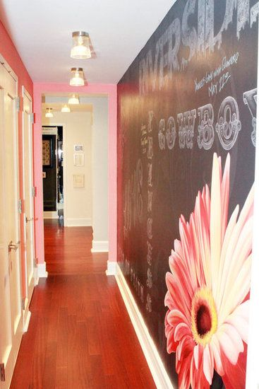 Love the idea of the hallway having chalkboard on one side of the wall.