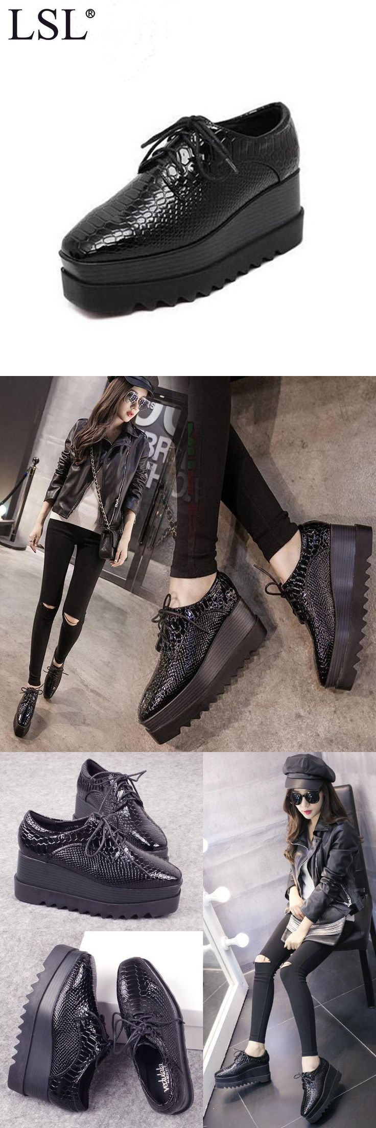 [Visit to Buy] 2017 Spring Oxfords Shoes For Women Black Platform Lace Up Star reepers Women's Oxfords Shoes Casual Ladies Flats Shoes Loafers #Advertisement