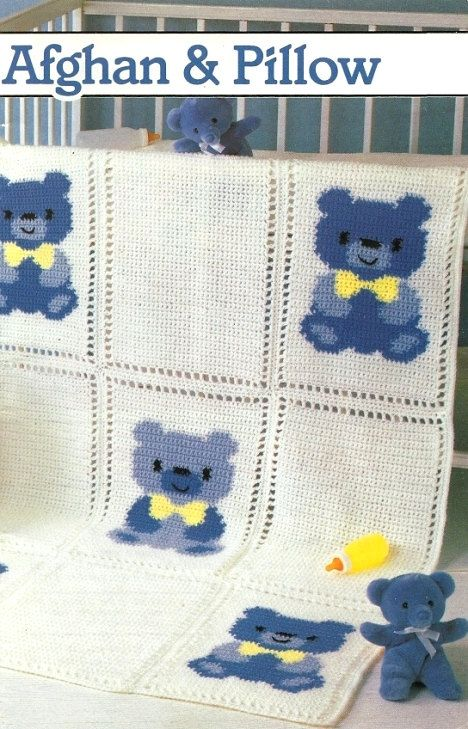 Thursday Handmade Love week 66 Theme: Teddy Bears Includes links to #free #crochet patterns X458 Crochet PATTERN ONLY Country Teddy Bear Afghan Pillow Pattern via Etsy