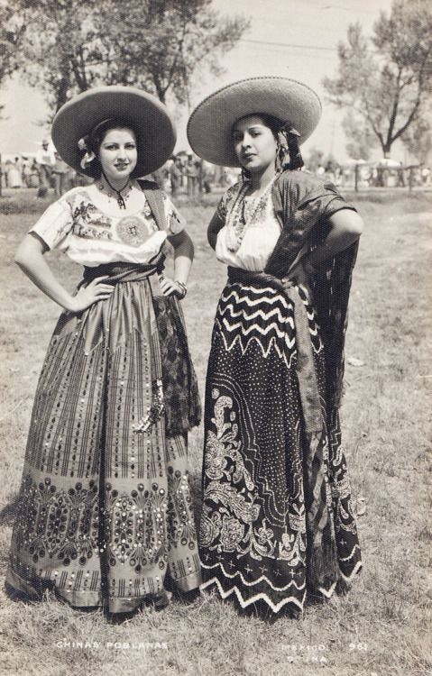 Vintage Mexico costumes with full beaded skirts.  (Photo is an old undated postcard with no clear attribution.)