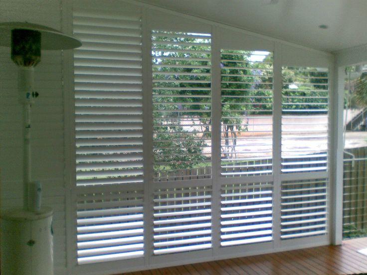Outdoor white plantation shutters for privacy via http://dymonblinds.com.au/interior-room-shutters/