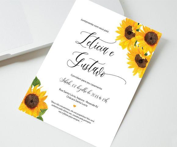Convite Casamento Girassol Arte Digital Com Imagens Convite
