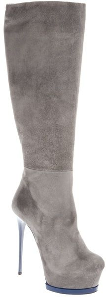 Gianmarco Lorenzi Stiletto Boot in Gray (grey) | Lyst