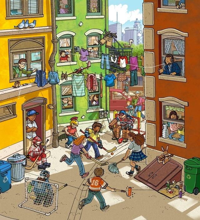Highlights What's Wrong? illustration. Street Hockey. September, 2012