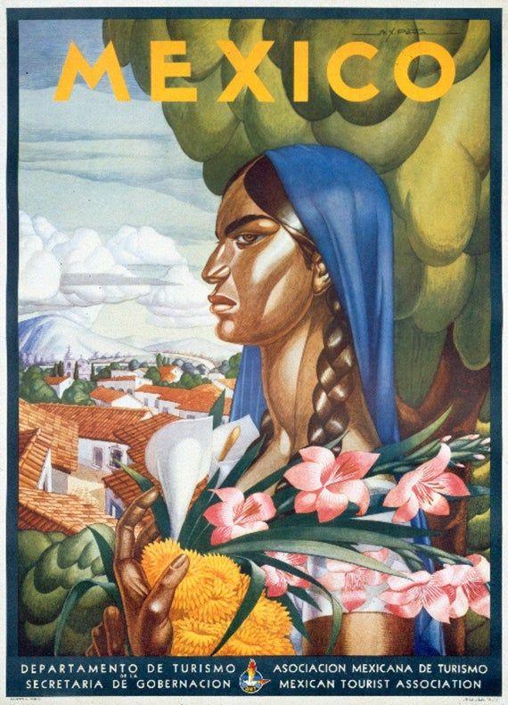Visit Tehuantepec Mexico Senorita 1930s Travel Poster 16x24