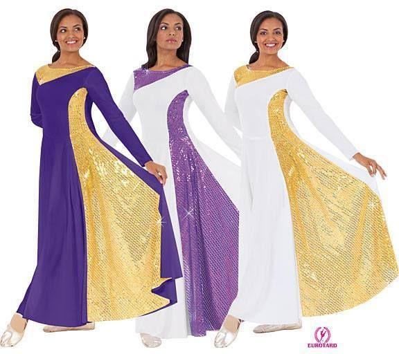 Traje en poliester color base blanco con oro, o blanco con lila, o purpura con oro.