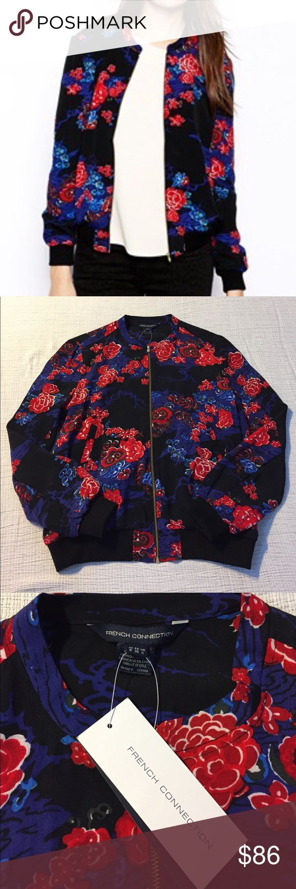 French Connection floral Shanghai bomber jacket Beautiful jacket that's brand new with tags!! French Connection Jackets & Coats
