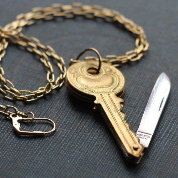 Vintage Brass Key Shaped Pocket Knife Necklace by contrary on Etsy