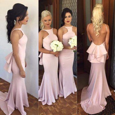 90 Charming Mermaid Satin Prom Dress,Sexy Backless Evening Dress