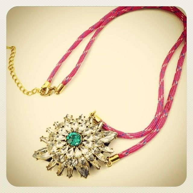 All about the contrast #necklace #crystals #neon #colour #statementpiece