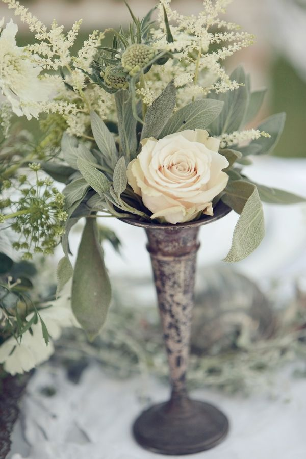 wonderful use of vintage patina silverplate for part of a wedding centerpiece
