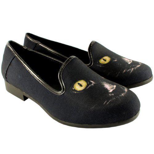 Midnight Gaze Shoes By Y.R.U #women #footwear #fashion #blackcat #kitten @Kitty Purring $60