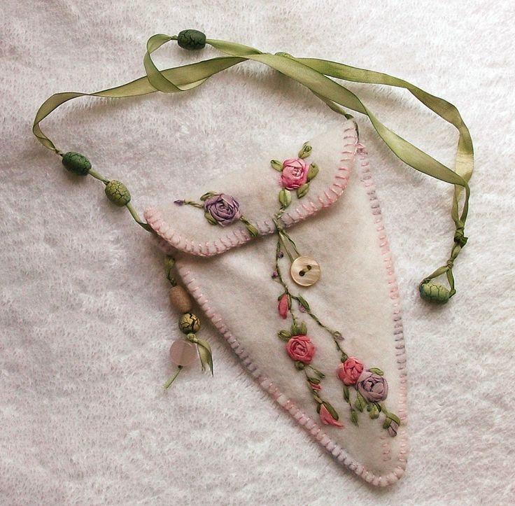 Silk ribbon embroidery on a scissor case.