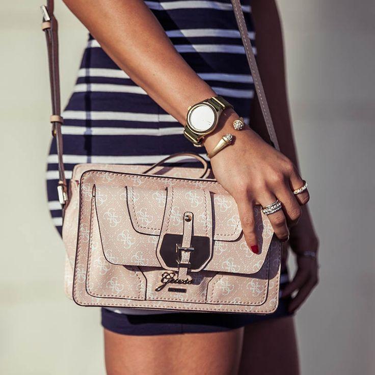 #GUESSgirl accessories + striped dress.