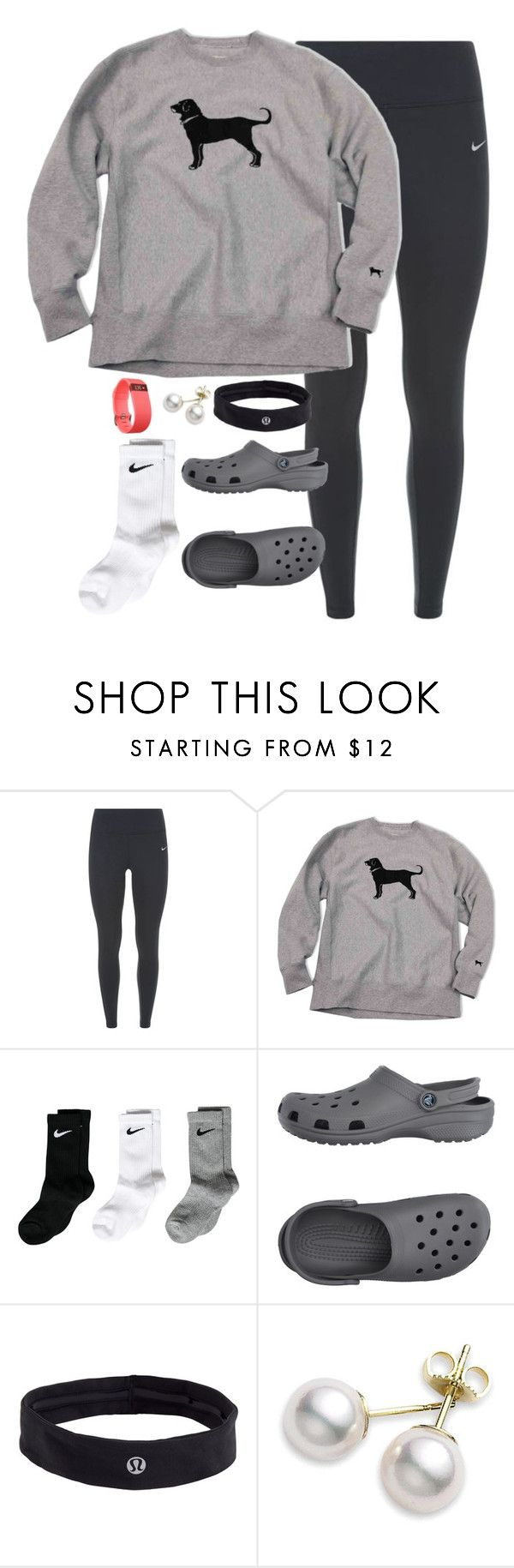 """Track meet today!!!"" by keileeen ❤ liked on Polyvore featuring NIKE, Crocs, lululemon, Mikimoto and Fitbit"