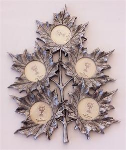 5li Gümüş Duvara Asmalı Yaprak Resim Çerçevesi 2