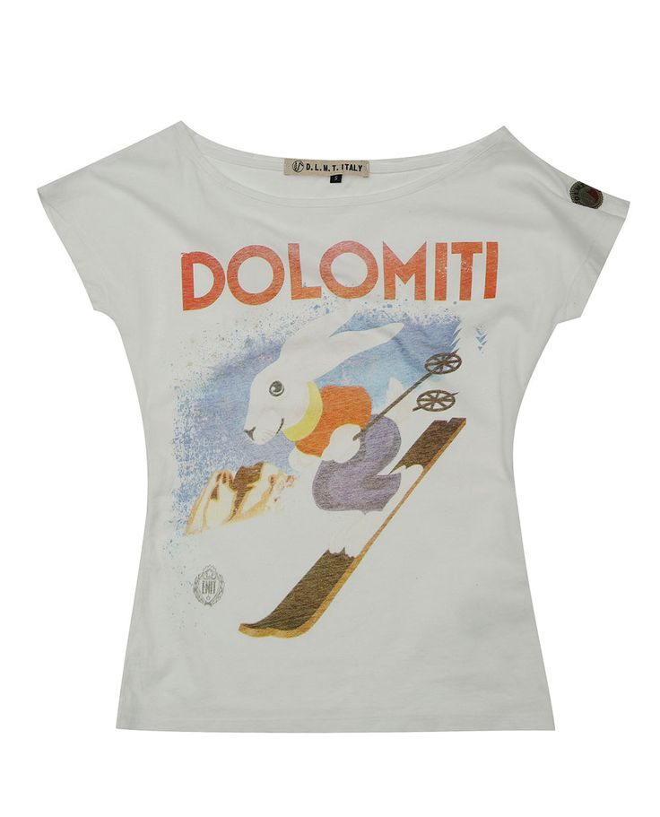 T-shirt woman Dolomites vintage, soft style, short sleeve. Made in Italy.