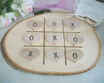 Tic Tac Toe Game Rustic and Charming Wooden Table Board Game for Weddings Gifts Anniversary