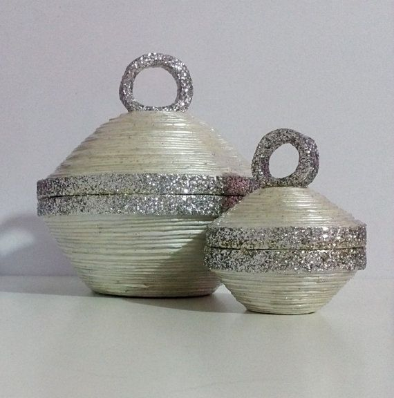 Shiny Jewelry Boxes/ Set of Jewelry box and Ring by HomeDecoByAna