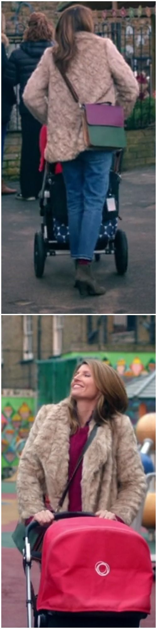 Sharon Horgan on Catastrophe: Season 3, episode 2: light brown faux fur coat, colorblocked leather crossbody briefcase, jeans, grey booties, red sweater, blue plaid shirt