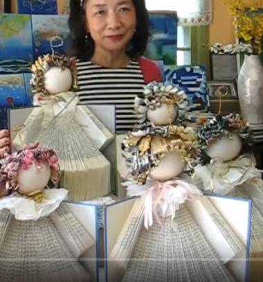 Book angels with magazine hair - recycling origami // Könyv angyalka magazin hajjal -  papírhajtogatás (origami) // Mindy - craft tutorial collection