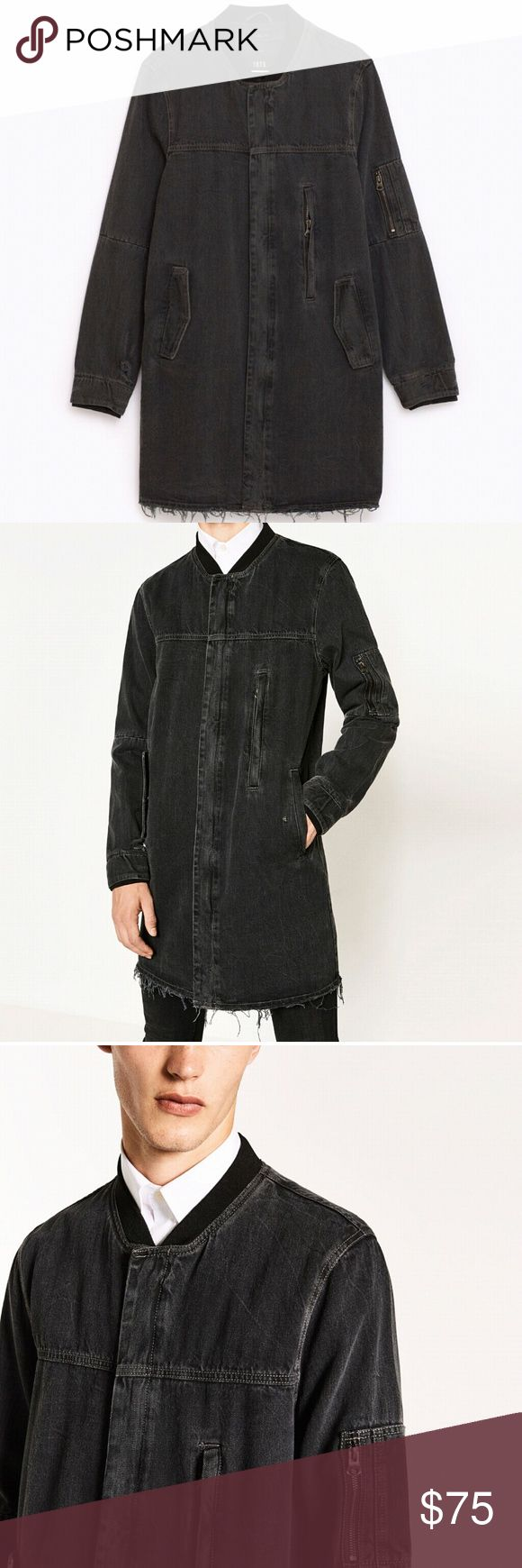 Long denim Bomber Long black denim Bomber Zara Jackets & Coats Bomber & Varsity