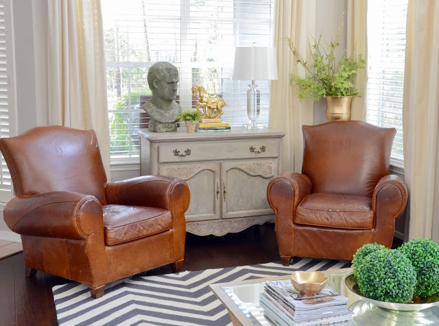 The Stone Bust From HomeGoods Made A Fun Unexpected Statement In This Living Space Lamp Boxwood Balls And Gold Bowl Are Also Finds