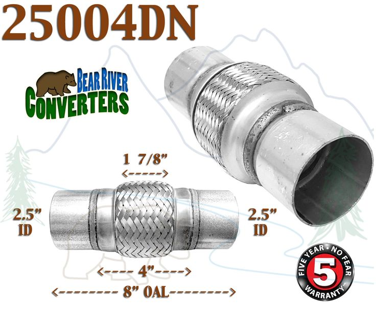 """25004DN 2.5"""" x 4"""" w/ Ends 8"""" OAL Exhaust Flex Pipe Stainless Steel Double Braid"""