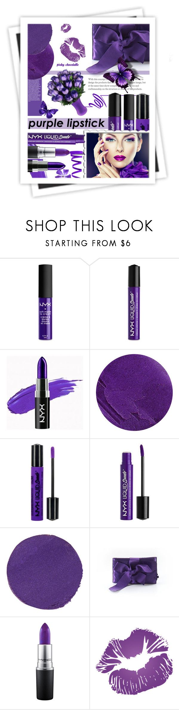 """Purple Lipstick: 20/03/17"" by pinky-chocolatte ❤ liked on Polyvore featuring beauty, NYX, Lipstick Queen, Charlotte Russe, Illamasqua, J.Crew, MAC Cosmetics and GALA"