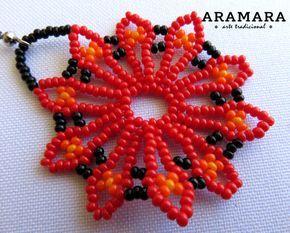 Corte de mexicana Huichol cuentas rojo flor pendientes por Aramara