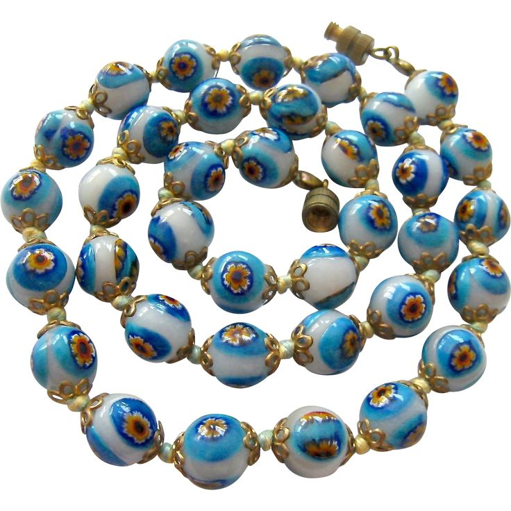 Blue White Venetian Glass Bead Necklace Hand Knotted