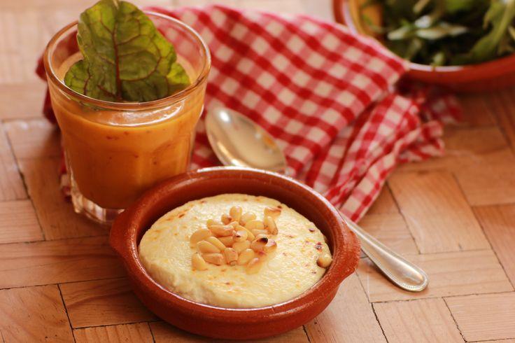 Goatscheese salad and pumkin soup at the organic kitchen.