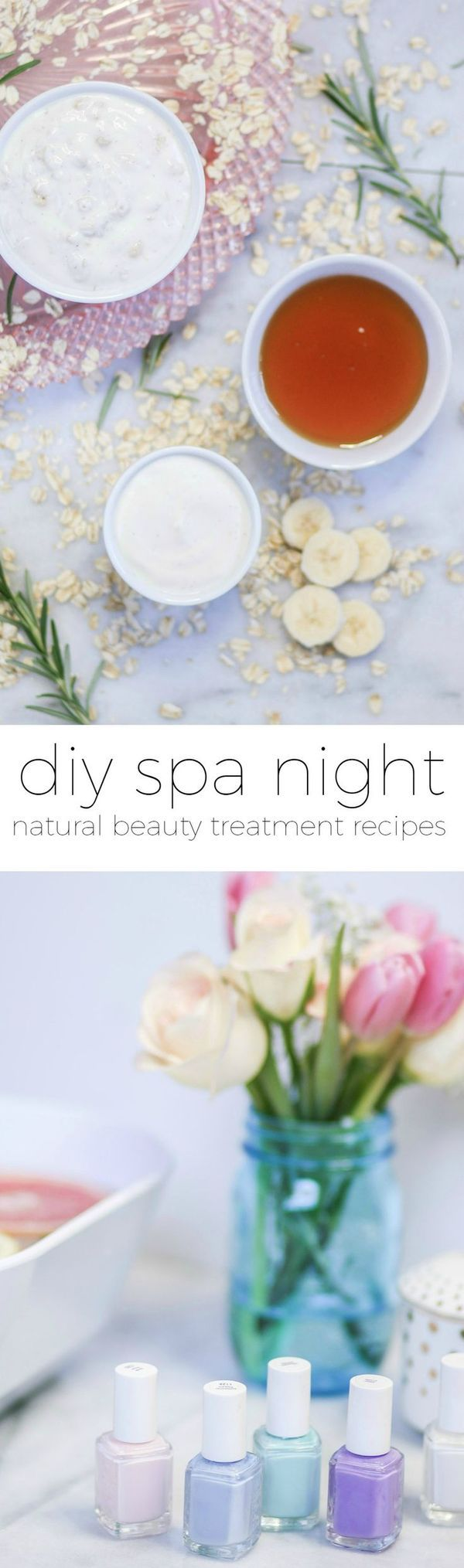 Learn how to create a luxurious DIY spa night at home with these easy DIY spa treatment recipes. You'll learn how to make a DIY lip scrub, moisturizing hair mask, soothing face mask, and chamomile hair rinse in this post. Plus, you'll learn how to easily whiten your teeth! Click through this pin to see all of the DIY recipes and skin care tips!
