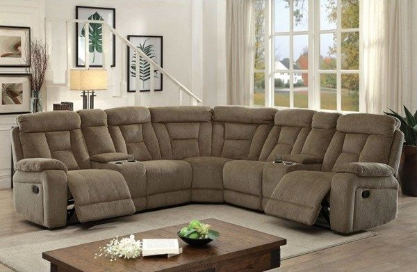 Maybell Transitional Mocha Fabric Sectional
