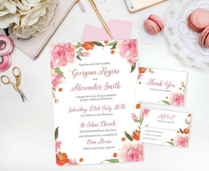 DIY Wedding Invitation - Pink Printable Wedding Invitation - Floral Wedding Invitations - Instant Download Wedding Invite - Wedding Invites by SmudgeCreativeDesign on Etsy