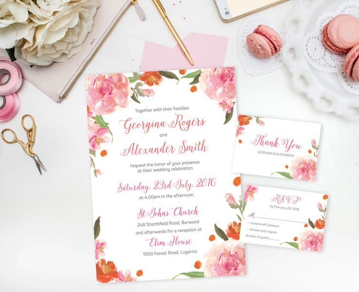 DIY Wedding Invitation | Pink Printable Wedding Invitation | Floral Wedding Invitations | Instant Download Wedding Invite | Wedding Invites by SmudgeCreativeDesign on Etsy
